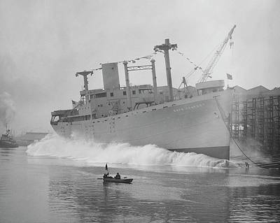 Cape Comfort Cargo Ship Launch Print by Hagley Museum And Archive
