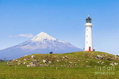 Cape Egmont Lighthouse And Taranaki Print by Colin and Linda McKie