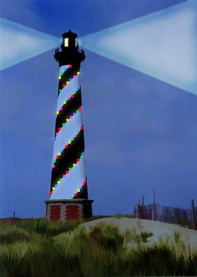 Wreath Painting - Cape Hatteras Lighthouse Christmas Lights  by Elaine Plesser