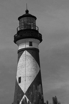 Cape Lookout Light Black And White 2  Print by Cathy Lindsey