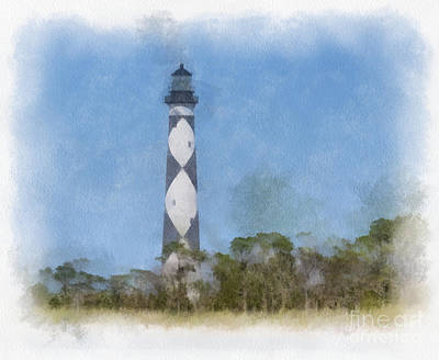 Watercolor Photograph - Cape Lookout Lighthouse - Watercolor by Kerri Farley