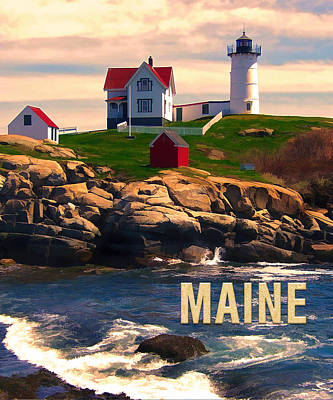 Cape Neddick Painting - Cape Neddick Lighthouse Maine  At Sunset  by Elaine Plesser
