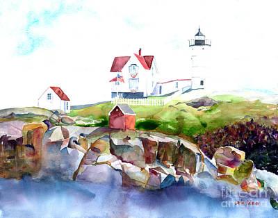 Cape Neddick Lighthouse Painting - Cape Neddick Lighthouse Me by Carla Palmer