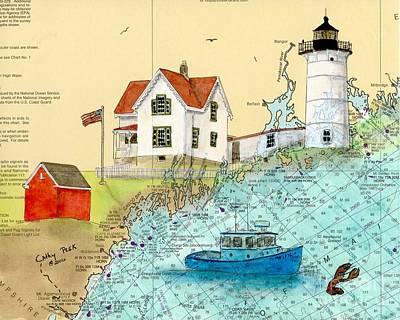 Cape Neddick Lighthouse Painting - Cape Neddick Lighthouse Me Nautical Chart Map Art Cathy Peek by Cathy Peek