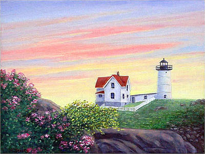Cape Neddick Painting - Cape Neddick Sunrise by Fran Brooks