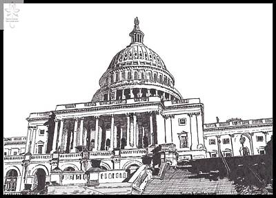 Washington D.c Drawing - Capital Building by Jessica Coulter