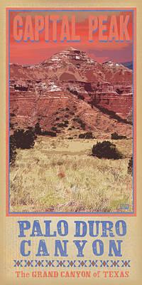 Grand Canyon Digital Art - Capital Peak Palo Duro Canyon by Jim Sanders