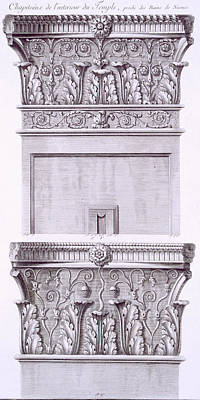 Capital Drawing - Capitals From The Temple Near The Roman Baths by French School