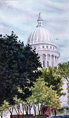 Capitol Building Painting - Capitol From W Washington by Tina Buechner