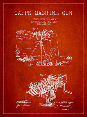 Capps Machine Gun Patent Drawing From 1899 - Red Print by Aged Pixel