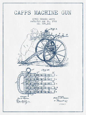 Wall Art Drawing - Capps Machine Gun Patent Drawing From 1902 -  Blue Ink by Aged Pixel