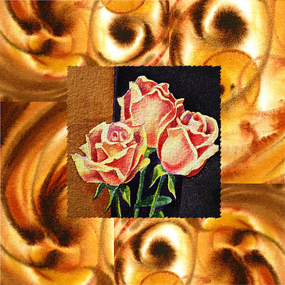 Dynamic Painting - Cappuccino Abstract Collage French Roses by Irina Sztukowski