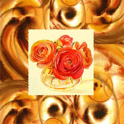 Watercolors Painting - Cappuccino Abstract Collage Ranunculus   by Irina Sztukowski