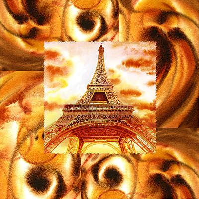 Warm Painting - Cappuccino In Paris Abstract Collage Eiffel Tower by Irina Sztukowski