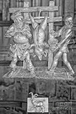 Goat Photograph - Capricorn Zodiac Sign - St Vitus Cathedral - Prague - Black And White by Ian Monk