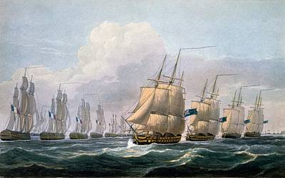 Hms Theseus Print by Frederick Christian Lewis