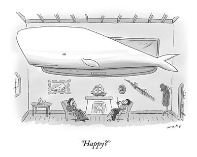 Whale Drawing - Captain Ahab And His Wife Sit In Their Living by Kim Warp