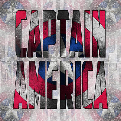 Captain America Shield Typography Design Print by Georgeta Blanaru