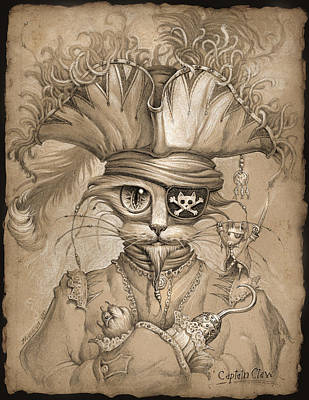 Cats Drawing - Captain Claw by Jeff Haynie