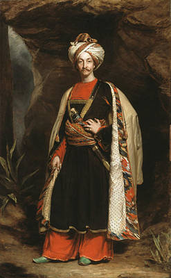 Full-length Portrait Painting - Captain Colin Mackenzie In His Afghan by James Sant