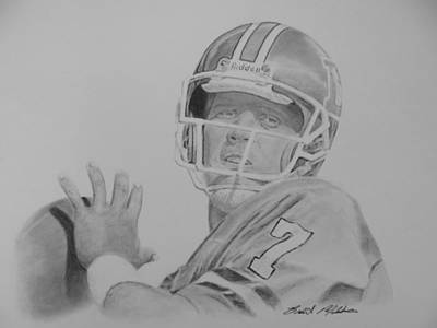 John Elway Drawing - Captain Comeback by Brent  Mileham