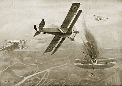 Captain Hawkers Aerial Battle Print by W. Avis