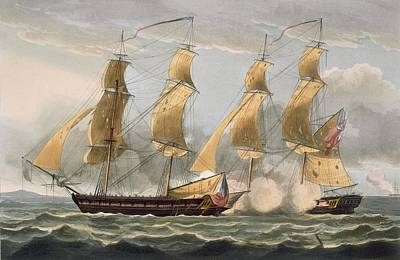 Conflict Painting - Capture Of The Argus by Thomas Whitcombe