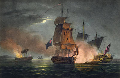 Capture Of The Badere Zaffer Print by Thomas Whitcombe
