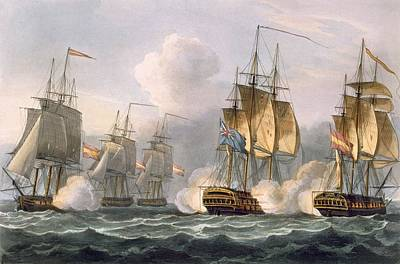 Warfare Drawing - Capture Of The Dorothea by Thomas Whitcombe