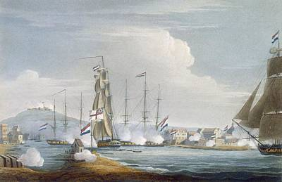 Capture Of The Port Of Curacoa, Dutch Print by Thomas Whitcombe