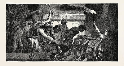 Cast Iron Drawing - Captured Slaves Cast Into Prison by English School