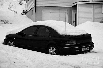 Harsh Conditions Photograph - Car Buried In Snow Outside House In Honningsvag Norway Europe by Joe Fox