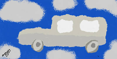 Car Painting - Car In The Clouds by Bruce Nutting