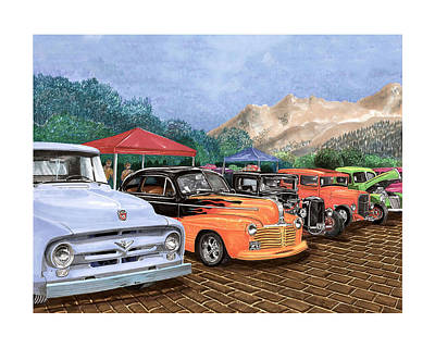 Classic Truck Drawing - Silver City Car Show And Shine by Jack Pumphrey