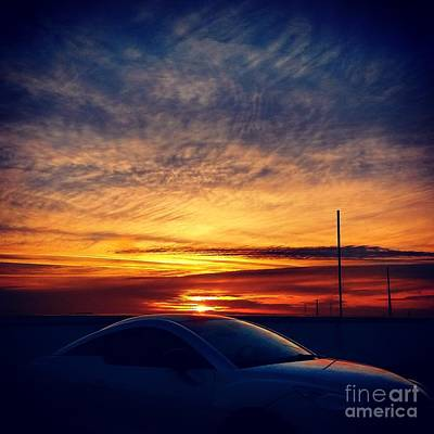 Abstract Beach Landscape Digital Art - Car Sunset On A Roof by Jacks Skystore