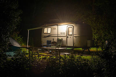 Casita Photograph - Caravan Trailer Glowing In Forest Camp Site Night by William Fawcett