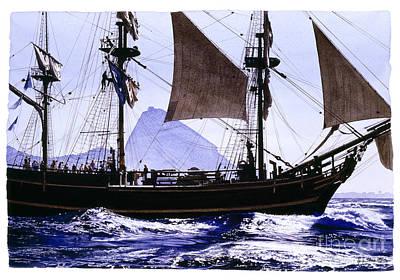 Seafarer Painting - Caravel In Rio by Jorge Eduardo
