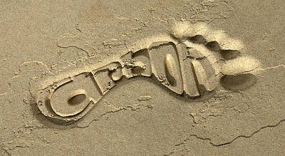 Carbon Footprint In The Sand Print by Allan Swart