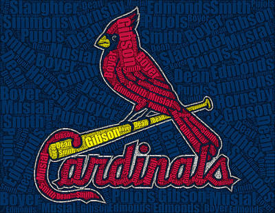 Mlb Hall Of Fame Drawing - Cardinal Greats Mosaic by Paul Van Scott