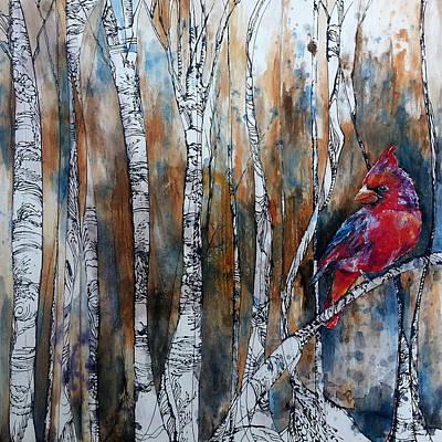 Cardinal In Birch Tree Forest Original by Christy  Freeman