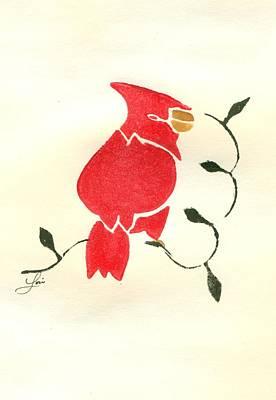 Lino Painting - Cardinal by Lori Johnson