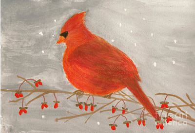 Cardinals In Watercolor Painting - Cardinal Redbird With Red Berries Watercolor by Conni Schaftenaar