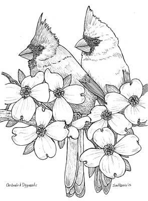 Cardinals And Dogwoods Original by Jim Harris