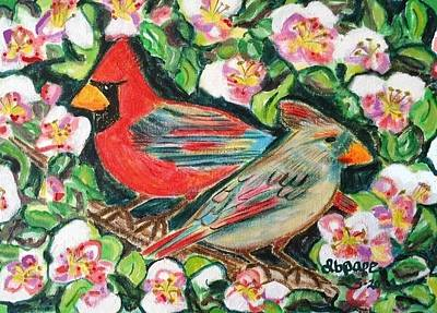 Cardinals In An Apple Tree Print by Diane Pape