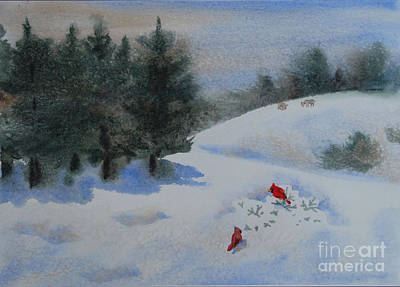Cardinals In Watercolor Painting - Cardinals In Snowy Landscape With Pines And Deer by Heidi E  Nelson