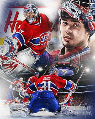 Hockey Digital Art - Carey Price by Mike Oulton