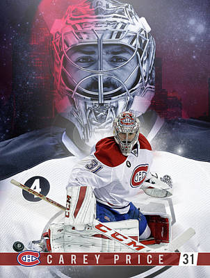 Montreal Canadiens Digital Art - Carey Price Print Poster by Nicholas Legault