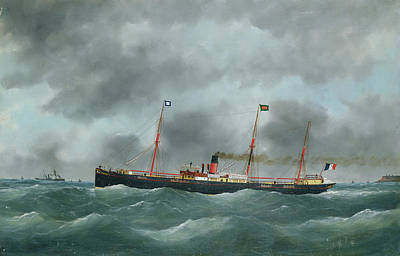 Waving Flag Painting - Cargo Steamship Flying The Flag Of The Le Havre Peninsular Company  by French School