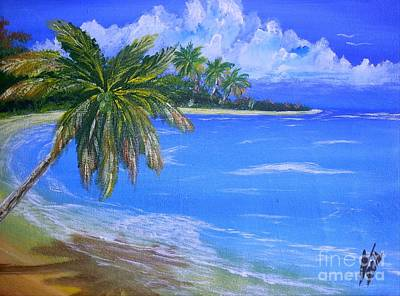 Jamaican Art Painting - Caribbean Beach by Collin A Clarke