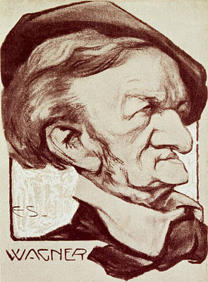 Funny Portraits Drawing - Caricature Of Richard Wagner by Anonymous